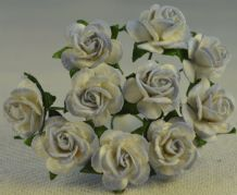 1.5cm LIGHT BLUE WHITE Mulberry Paper Roses
